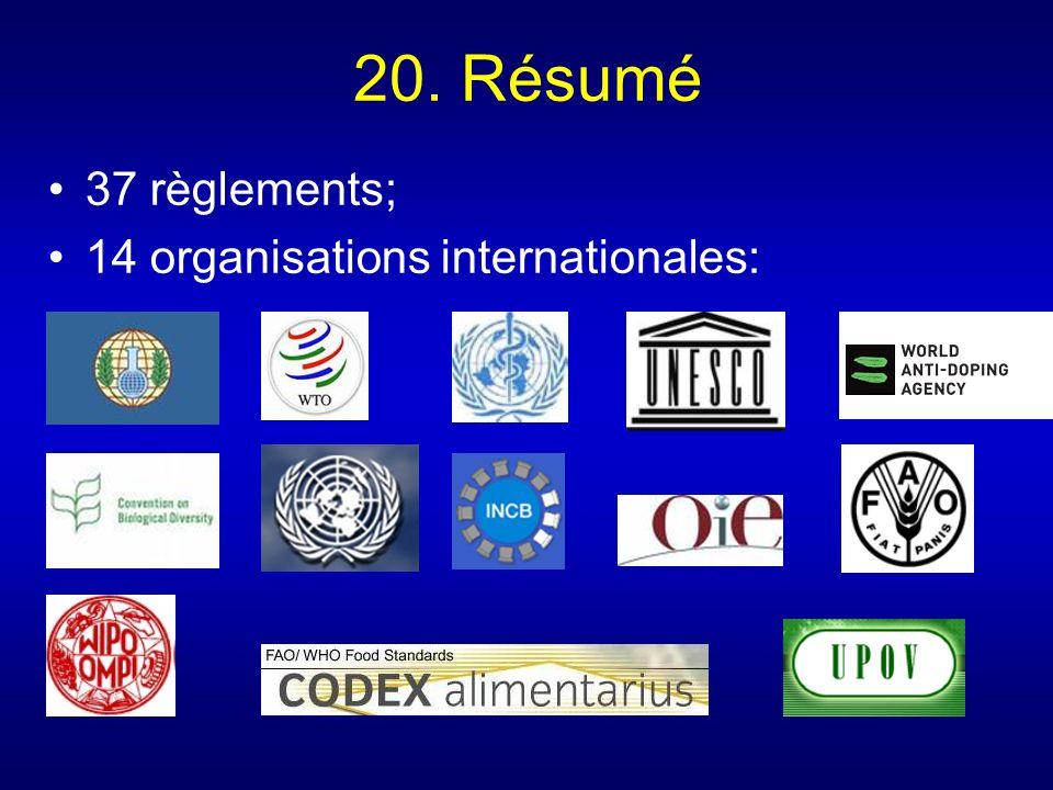 20. Résumé 37 règlements; 14 organisations internationales: