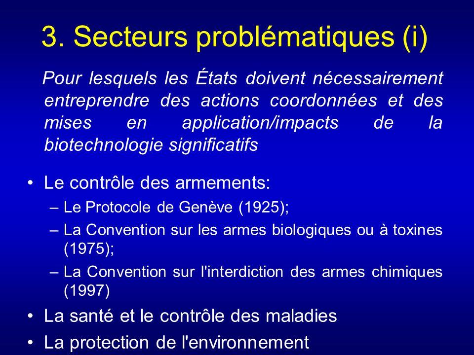 3. Secteurs problématiques (i) Pour lesquels les États doivent nécessairement entreprendre des actions coordonnées et des mises en application/impacts