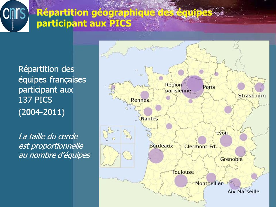 Katsiveli Lieu et date de lintervention Répartition géographique des équipes participant aux PICS Répartition des équipes françaises participant aux 137 PICS (2004-2011) La taille du cercle est proportionnelle au nombre déquipes