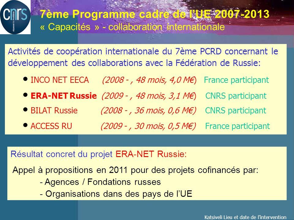 Katsiveli Lieu et date de lintervention 7ème Programme cadre de lUE 2007-2013 « Capacités » - collaboration internationale Activités de coopération internationale du 7ème PCRD concernant le développement des collaborations avec la Fédération de Russie: INCO NET EECA (2008 -, 48 mois, 4,0 M) France participant ERA-NET Russie (2009 -, 48 mois, 3,1 M) CNRS participant BILAT Russie (2008 -, 36 mois, 0,6 M) CNRS participant ACCESS RU (2009 -, 30 mois, 0,5 M) France participant Résultat concret du projet ERA-NET Russie: Appel à propositions en 2011 pour des projets cofinancés par: - Agences / Fondations russes - Organisations dans des pays de lUE