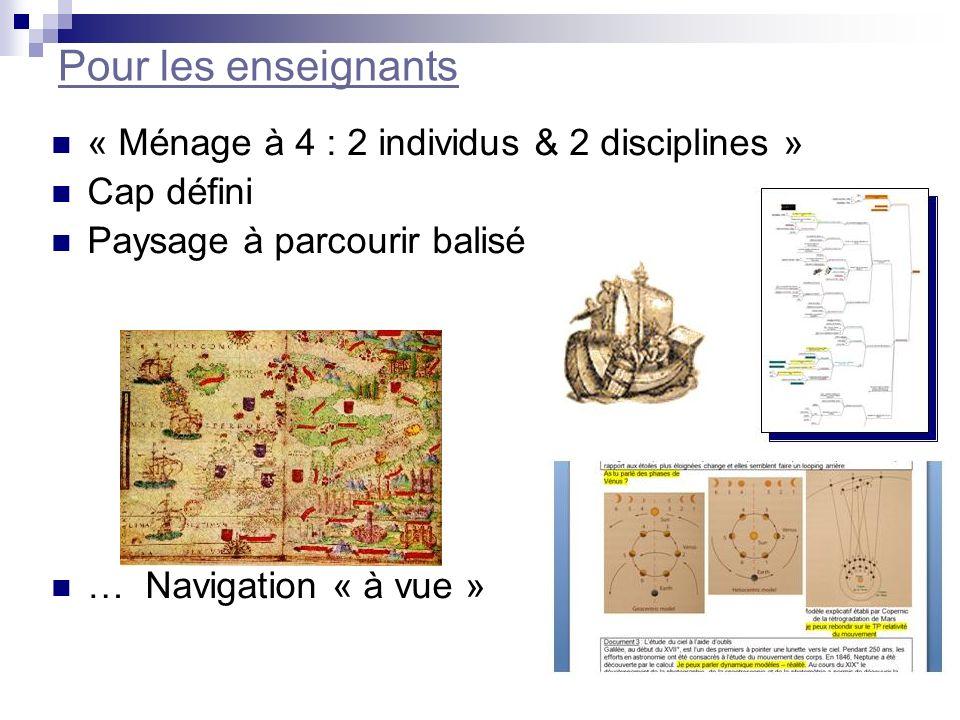 Pour les enseignants « Ménage à 4 : 2 individus & 2 disciplines » Cap défini Paysage à parcourir balisé … Navigation « à vue »