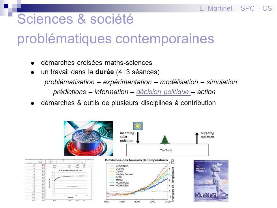 Sciences & société problématiques contemporaines démarches croisées maths-sciences un travail dans la durée (4+3 séances) problématisation – expérimen