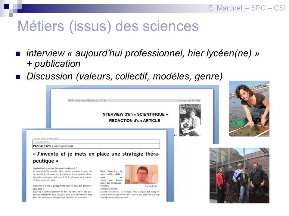 Métiers (issus) des sciences interview « aujourdhui professionnel, hier lycéen(ne) » + publication Discussion (valeurs, collectif, modèles, genre) E.