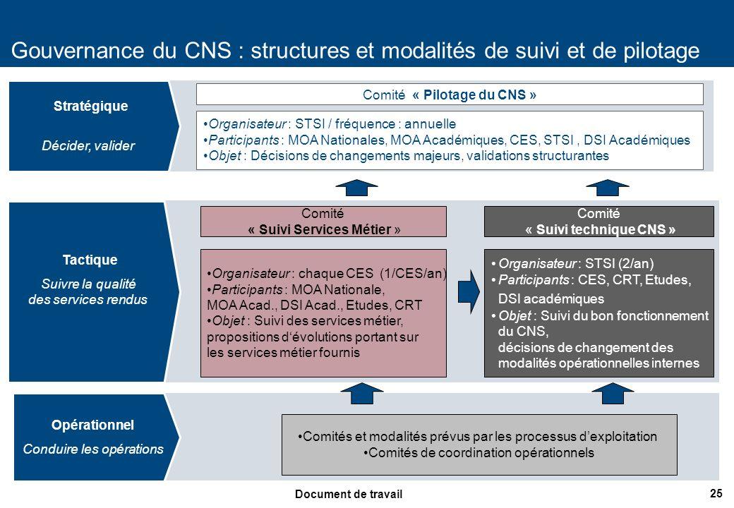 25 Document de travail Gouvernance du CNS : structures et modalités de suivi et de pilotage Comités et modalités prévus par les processus dexploitatio