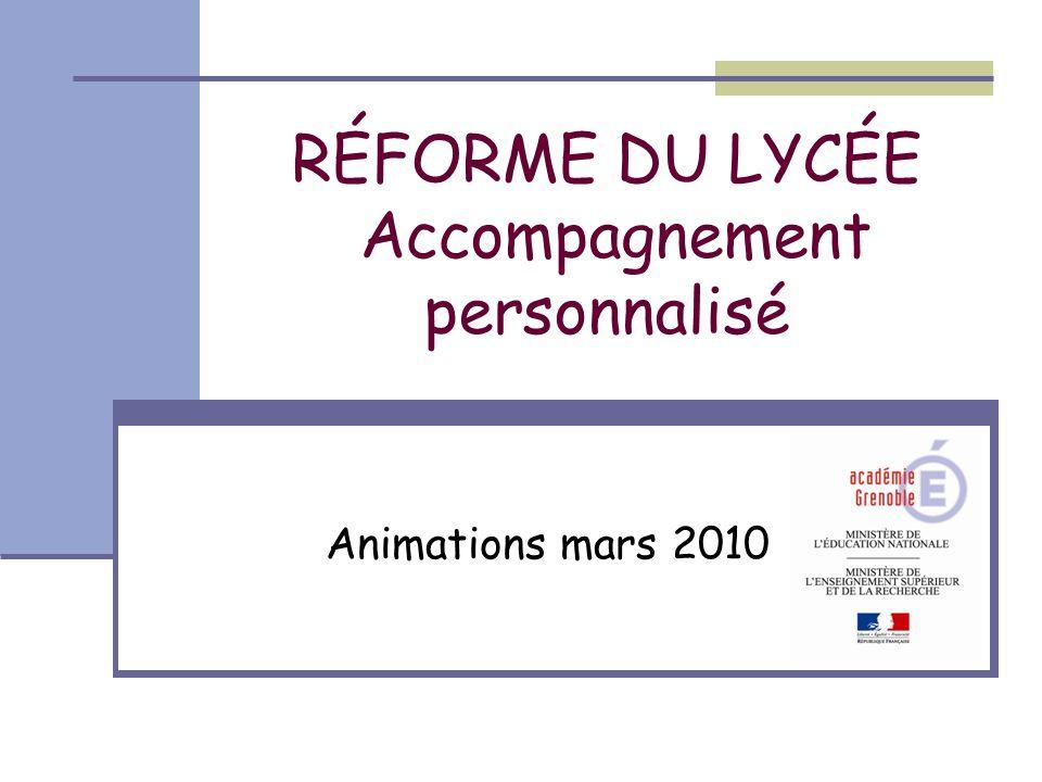 RÉFORME DU LYCÉE Accompagnement personnalisé Animations mars 2010