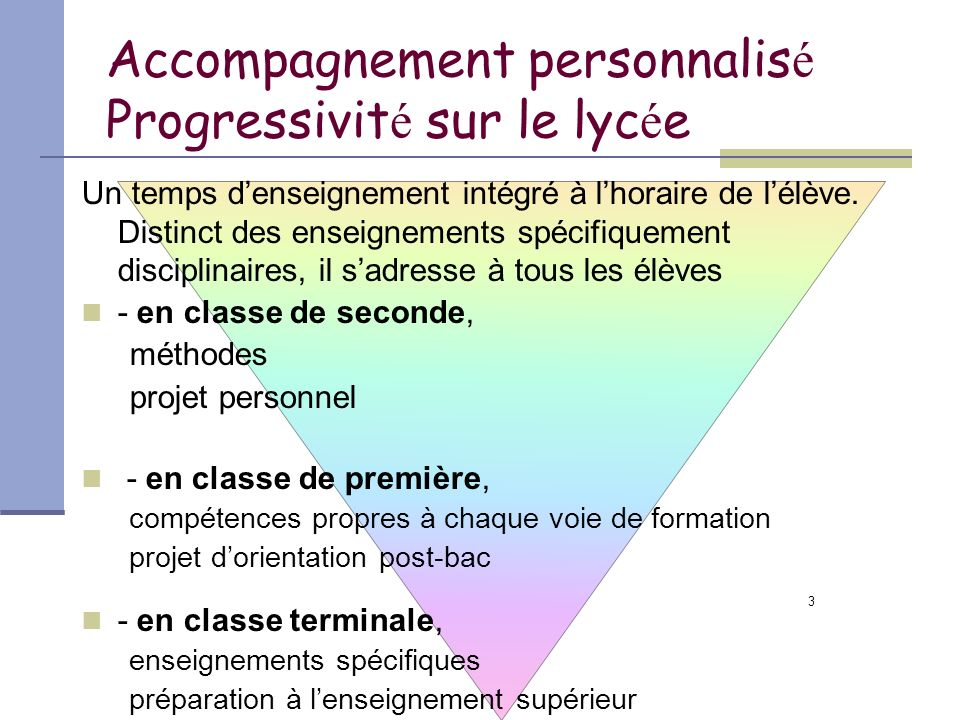 3 Accompagnement personnalis é Progressivit é sur le lyc é e Un temps denseignement intégré à lhoraire de lélève. Distinct des enseignements spécifiqu