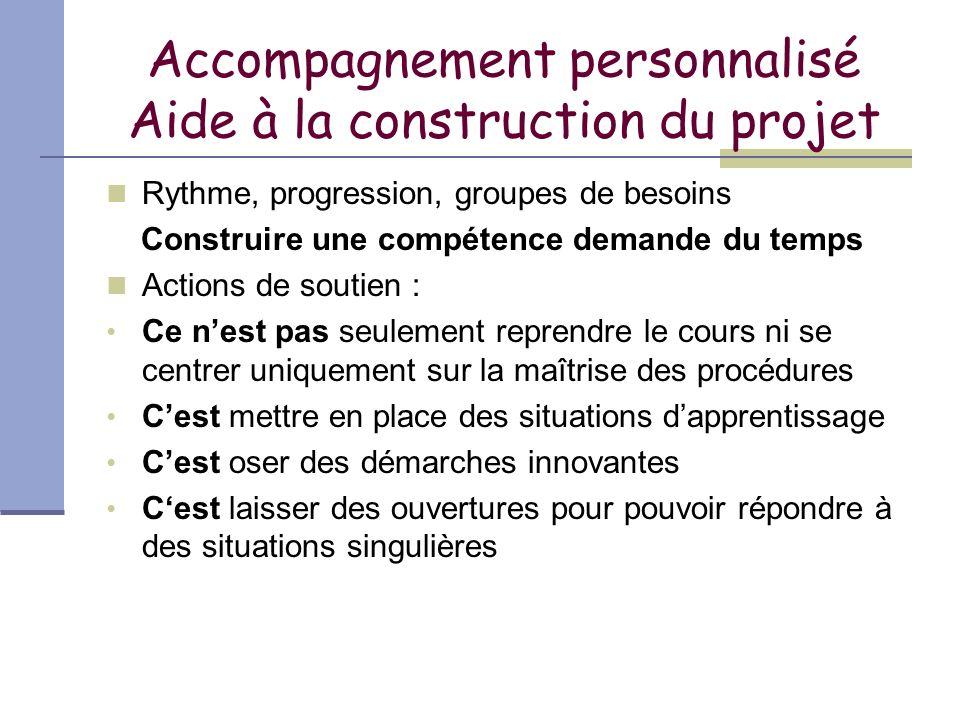 Accompagnement personnalisé Aide à la construction du projet Rythme, progression, groupes de besoins Construire une compétence demande du temps Action