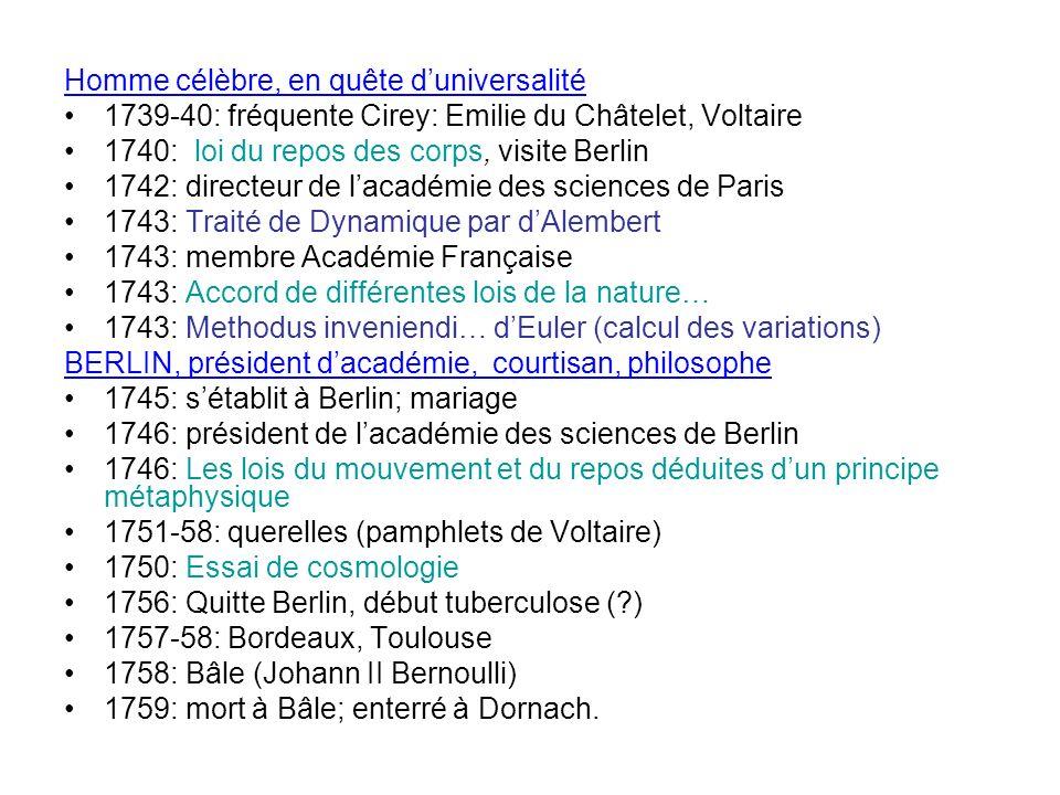 Homme célèbre, en quête duniversalité 1739-40: fréquente Cirey: Emilie du Châtelet, Voltaire 1740: loi du repos des corps, visite Berlin 1742: directe