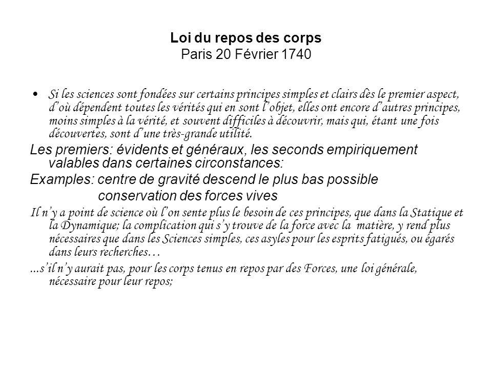 Loi du repos des corps Paris 20 Février 1740 Si les sciences sont fondées sur certains principes simples et clairs dès le premier aspect, doù dépenden