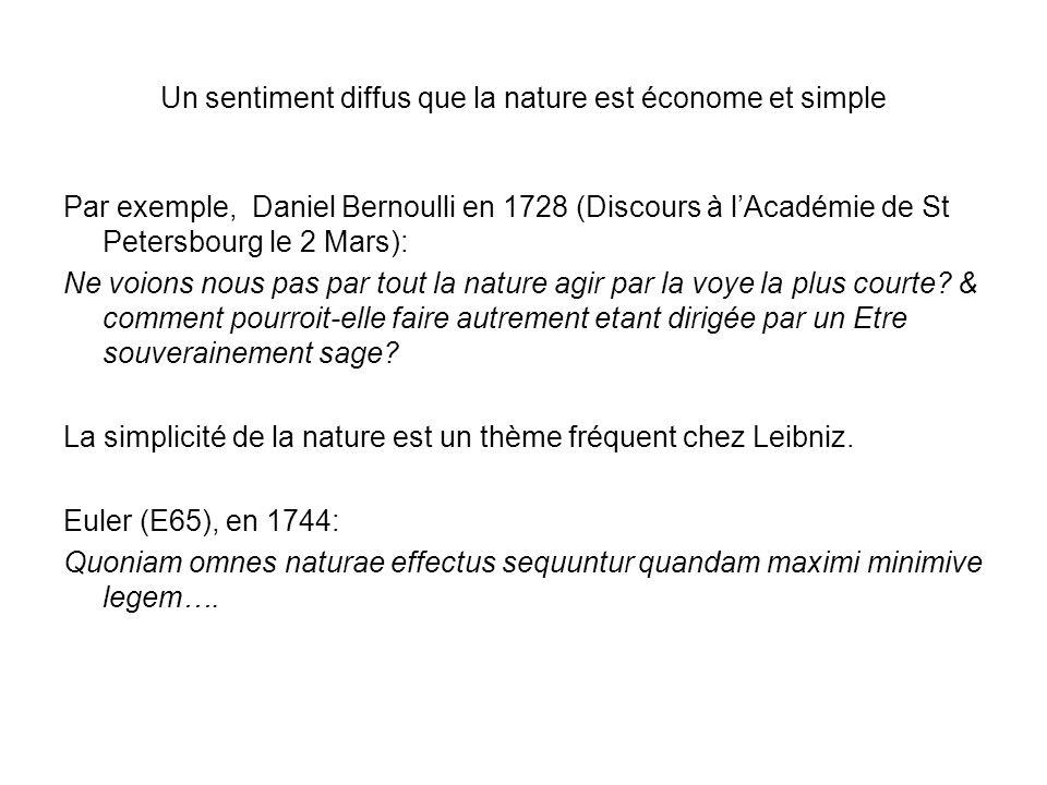Un sentiment diffus que la nature est économe et simple Par exemple, Daniel Bernoulli en 1728 (Discours à lAcadémie de St Petersbourg le 2 Mars): Ne v