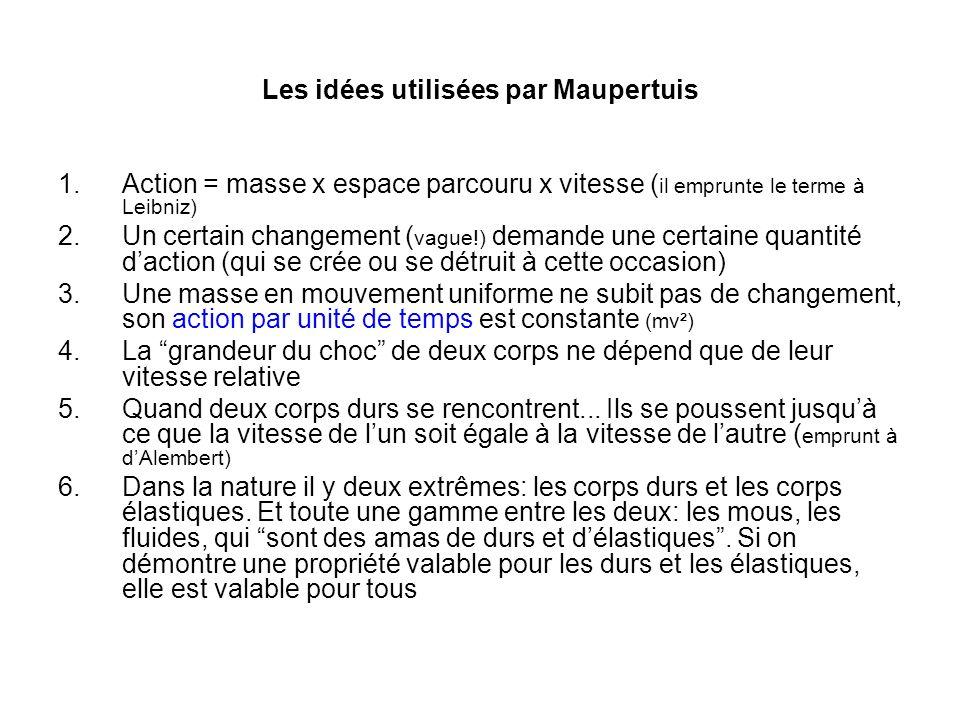 Les idées utilisées par Maupertuis 1.Action = masse x espace parcouru x vitesse ( il emprunte le terme à Leibniz) 2.Un certain changement ( vague!) de