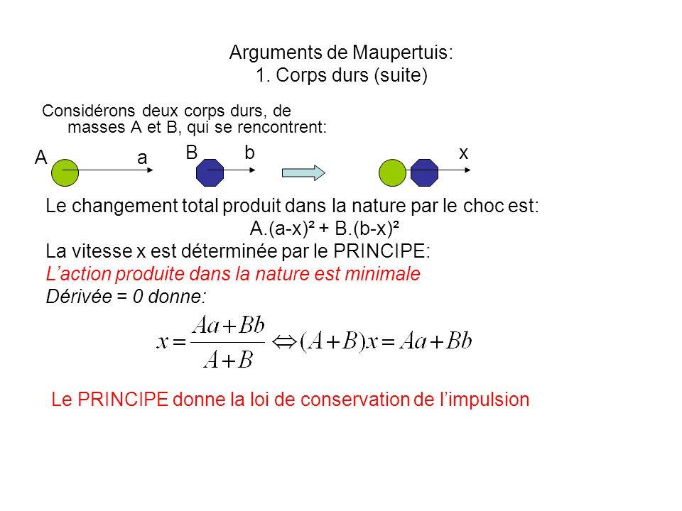 Arguments de Maupertuis: 1. Corps durs (suite) Considérons deux corps durs, de masses A et B, qui se rencontrent: Aa Bbx Le changement total produit d