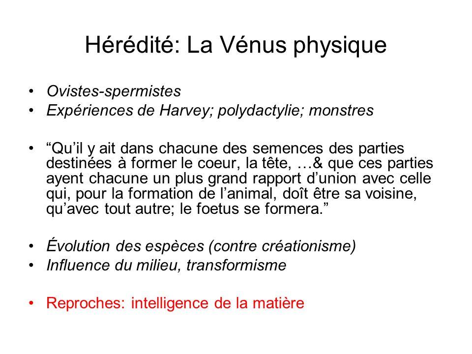 Hérédité: La Vénus physique Ovistes-spermistes Expériences de Harvey; polydactylie; monstres Quil y ait dans chacune des semences des parties destinée