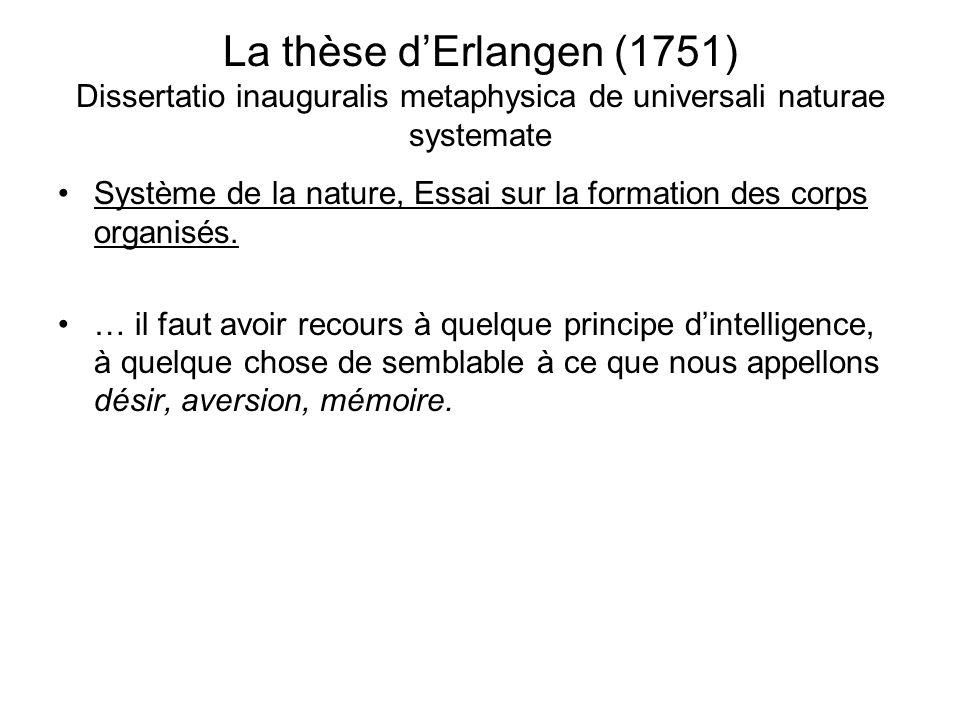 La thèse dErlangen (1751) Dissertatio inauguralis metaphysica de universali naturae systemate Système de la nature, Essai sur la formation des corps o