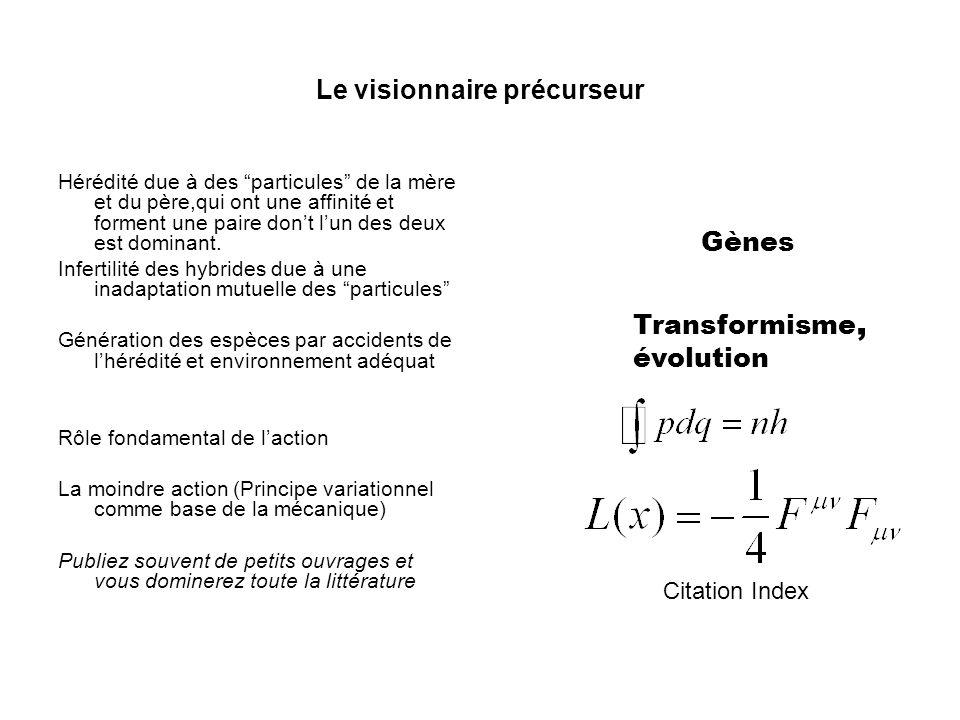 Le visionnaire précurseur Hérédité due à des particules de la mère et du père,qui ont une affinité et forment une paire dont lun des deux est dominant