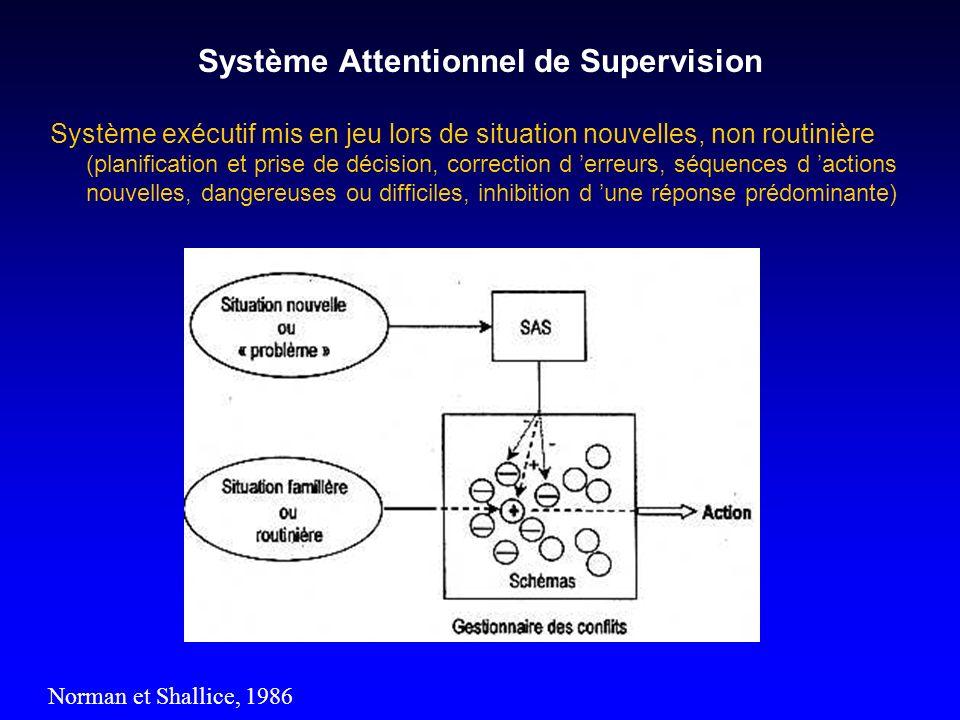 Système Attentionnel de Supervision Norman et Shallice, 1986 Système exécutif mis en jeu lors de situation nouvelles, non routinière (planification et