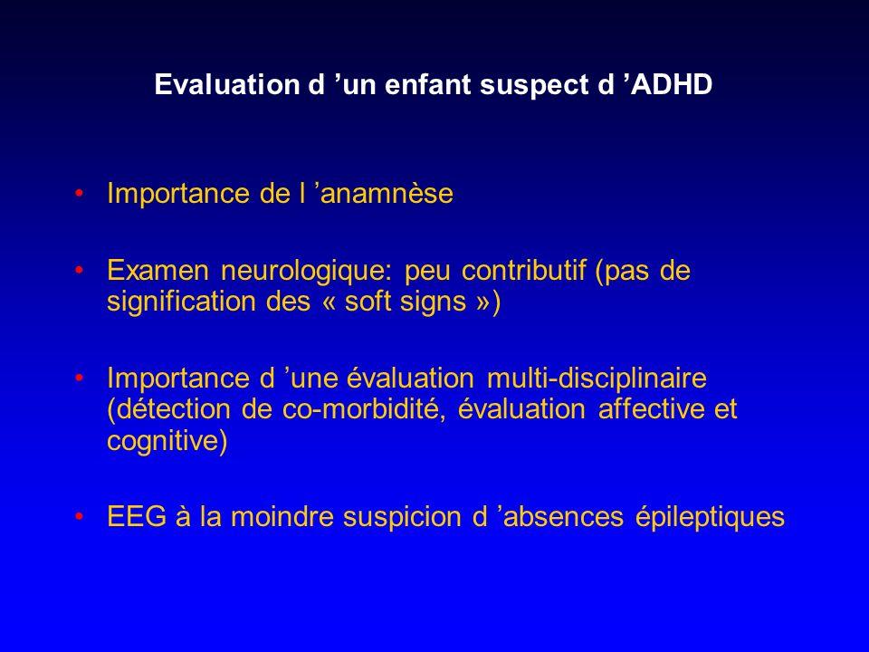 Evaluation d un enfant suspect d ADHD Importance de l anamnèse Examen neurologique: peu contributif (pas de signification des « soft signs ») Importan