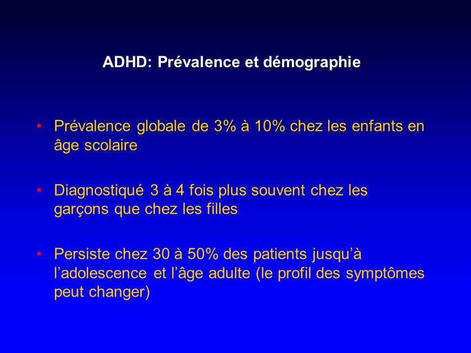 ADHD: Prévalence et démographie Prévalence globale de 3% à 10% chez les enfants en âge scolaire Diagnostiqué 3 à 4 fois plus souvent chez les garçons