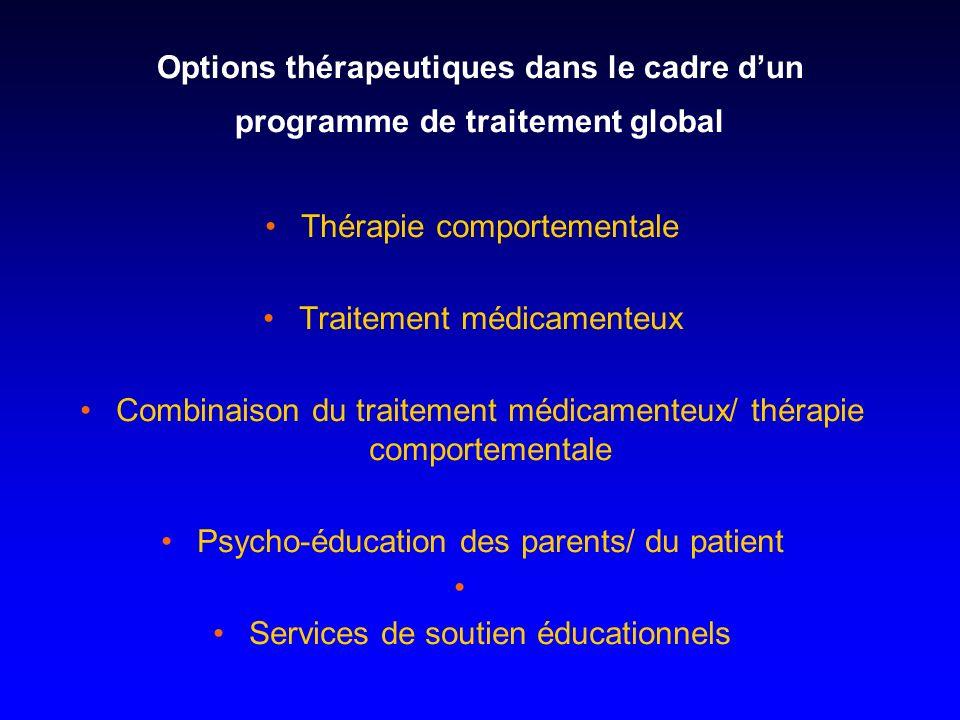 Options thérapeutiques dans le cadre dun programme de traitement global Thérapie comportementale Traitement médicamenteux Combinaison du traitement mé