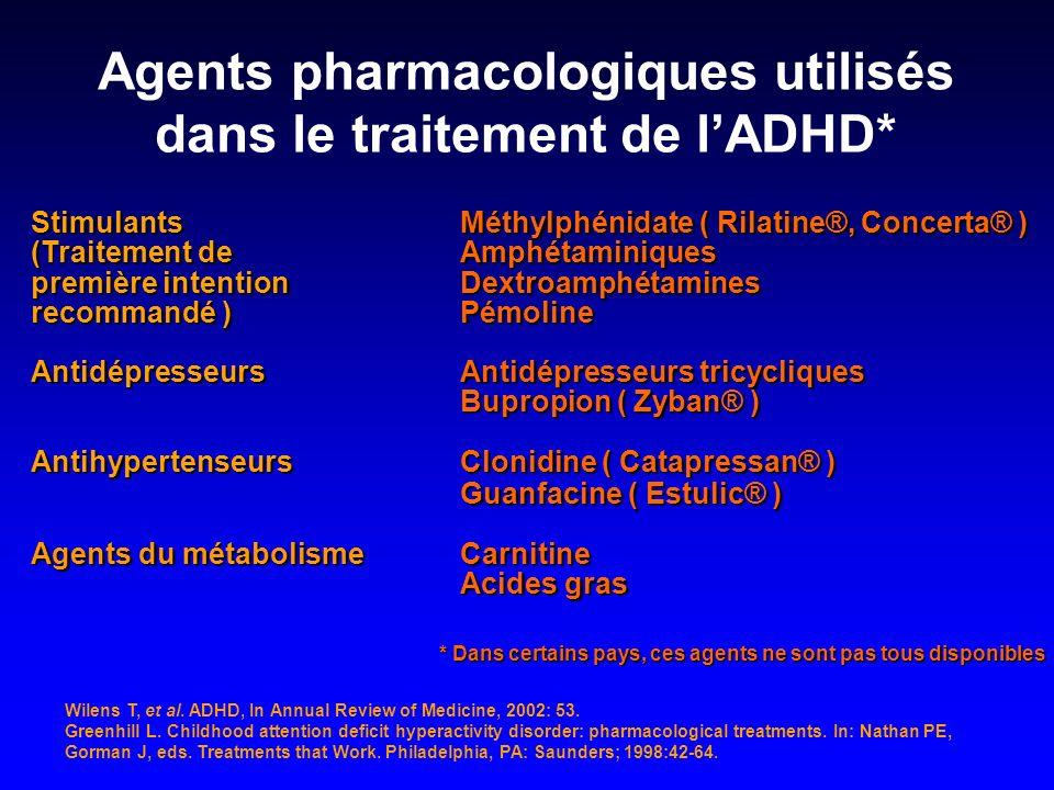 Stimulants Méthylphénidate ( Rilatine®, Concerta® ) (Traitement deAmphétaminiques première intention Dextroamphétamines recommandé ) Pémoline Antidépr