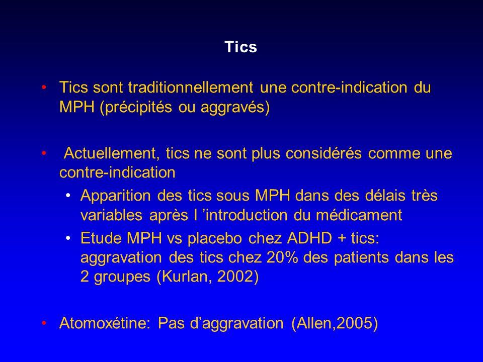 Tics Tics sont traditionnellement une contre-indication du MPH (précipités ou aggravés) Actuellement, tics ne sont plus considérés comme une contre-in