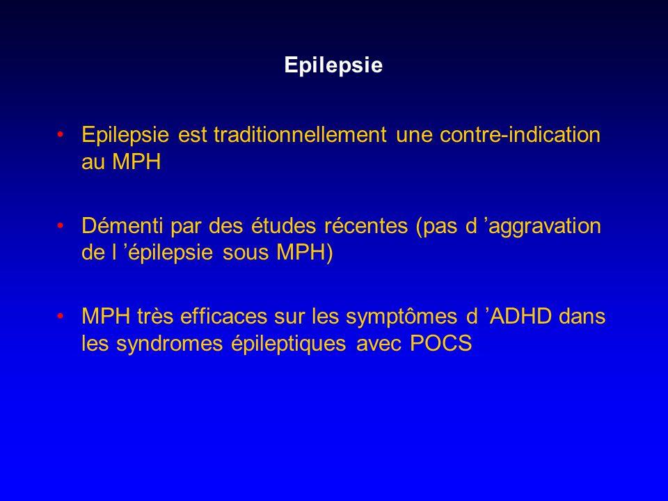 Epilepsie Epilepsie est traditionnellement une contre-indication au MPH Démenti par des études récentes (pas d aggravation de l épilepsie sous MPH) MP
