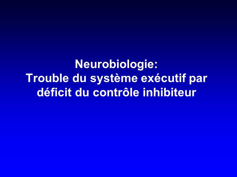 Neurobiologie: Trouble du système exécutif par déficit du contrôle inhibiteur