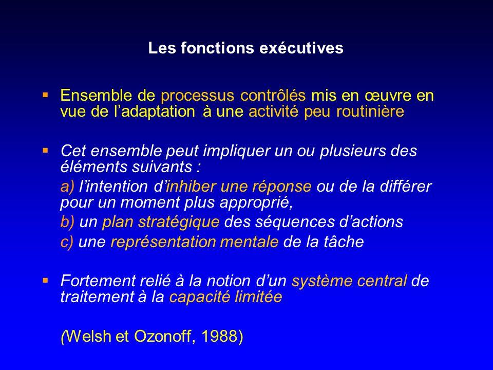 Les fonctions exécutives Ensemble de processus contrôlés mis en œuvre en vue de ladaptation à une activité peu routinière Cet ensemble peut impliquer