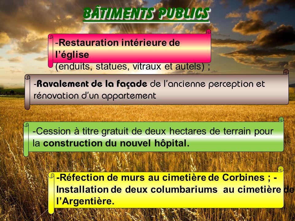 -Cession à titre gratuit de deux hectares de terrain pour la construction du nouvel hôpital.