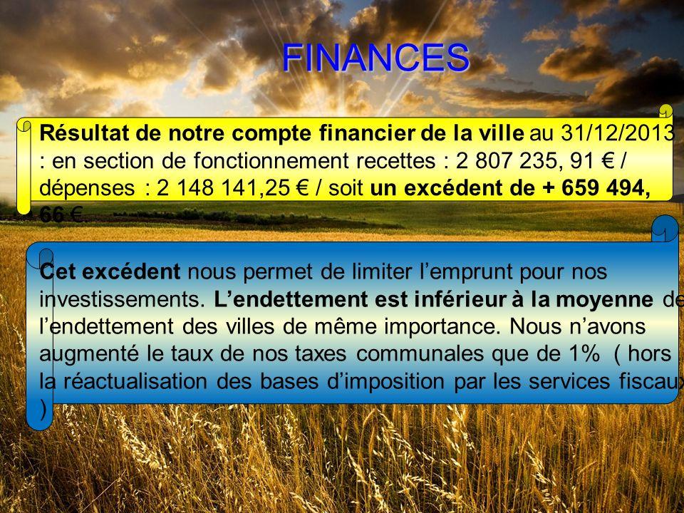 FINANCES Résultat de notre compte financier de la ville au 31/12/2013 : en section de fonctionnement recettes : 2 807 235, 91 / dépenses : 2 148 141,25 / soit un excédent de + 659 494, 66.