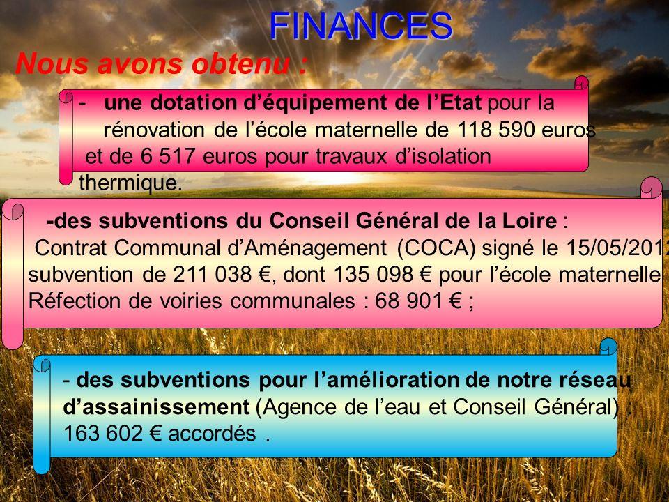 FINANCES Nous avons obtenu : -une dotation déquipement de lEtat pour la rénovation de lécole maternelle de 118 590 euros et de 6 517 euros pour travaux disolation thermique.