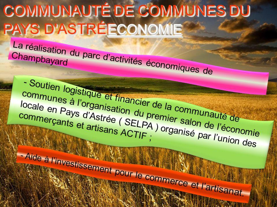 COMMUNAUTÉ DE COMMUNES DU PAYS D ASTRÉE COMMUNAUTÉ DE COMMUNES DU PAYS D ASTRÉE ECONOMIEECONOMIE