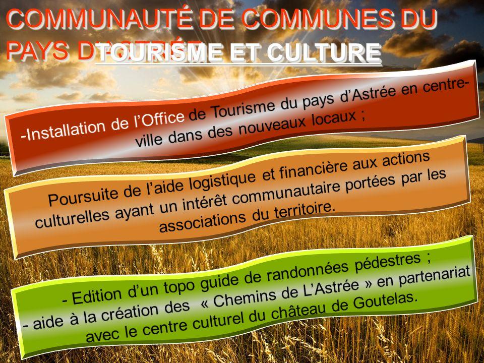 COMMUNAUTÉ DE COMMUNES DU PAYS D ASTRÉE COMMUNAUTÉ DE COMMUNES DU PAYS D ASTRÉE TOURISME ET CULTURE