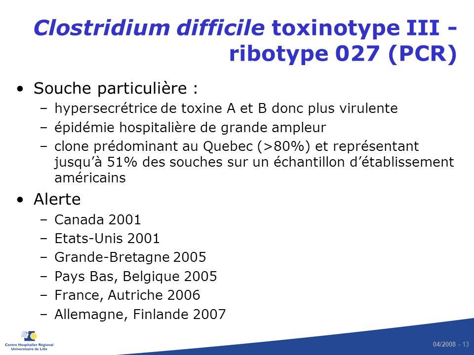 04/2008 - 13 Clostridium difficile toxinotype III - ribotype 027 (PCR) Souche particulière : –hypersecrétrice de toxine A et B donc plus virulente –ép