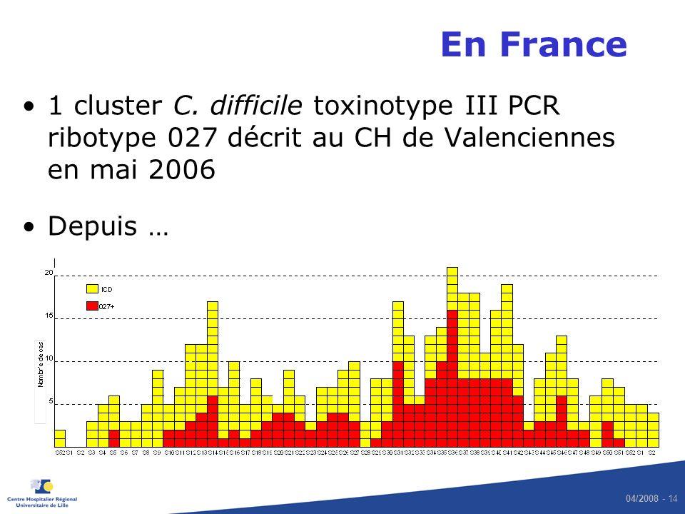 04/2008 - 14 En France 1 cluster C. difficile toxinotype III PCR ribotype 027 décrit au CH de Valenciennes en mai 2006 Depuis …