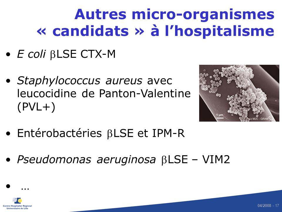 04/2008 - 17 Autres micro-organismes « candidats » à lhospitalisme E coli LSE CTX-M Staphylococcus aureus avec leucocidine de Panton-Valentine (PVL+)