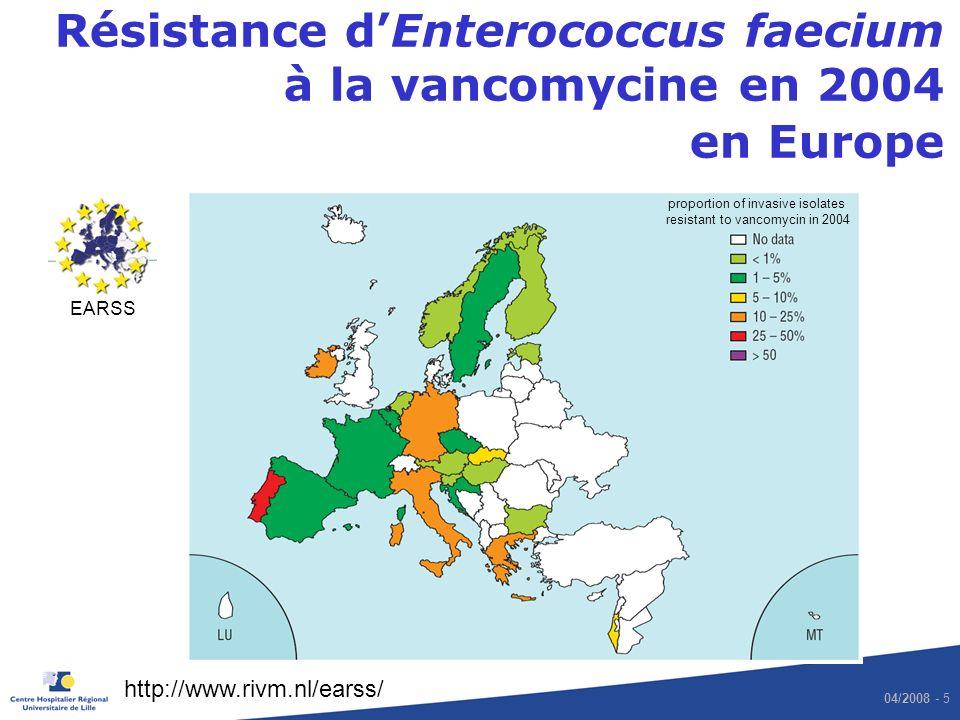 04/2008 - 5 Résistance dEnterococcus faecium à la vancomycine en 2004 en Europe EARSS http://www.rivm.nl/earss/ proportion of invasive isolates resist