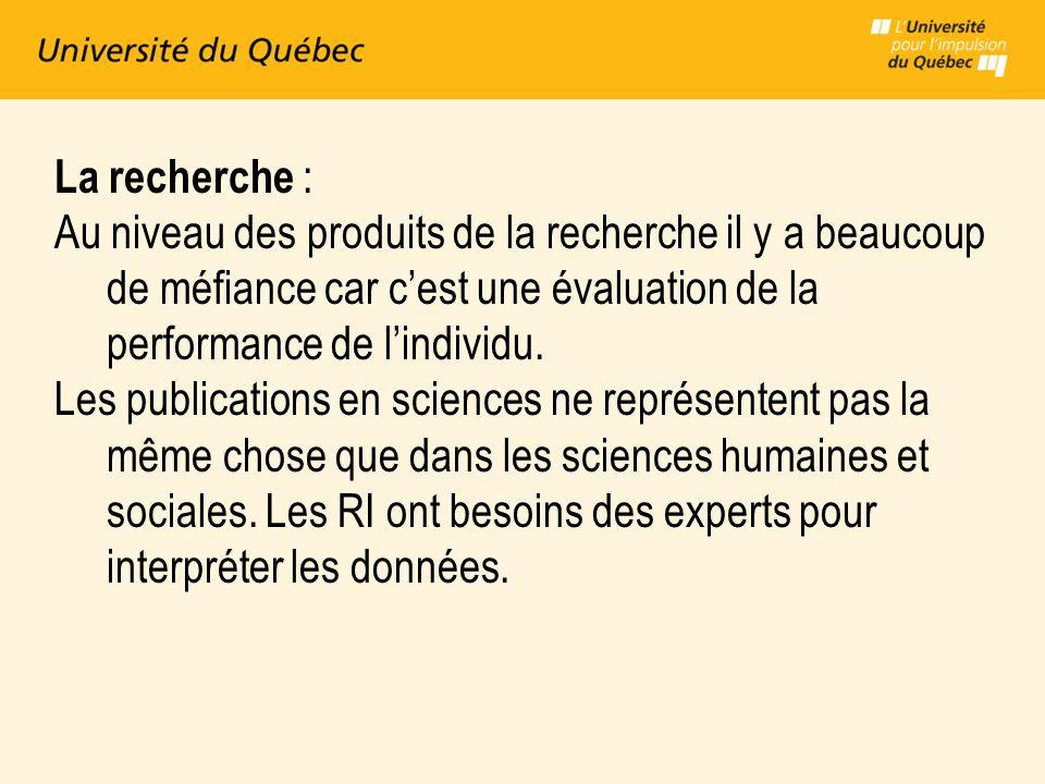 La recherche : Au niveau des produits de la recherche il y a beaucoup de méfiance car cest une évaluation de la performance de lindividu.