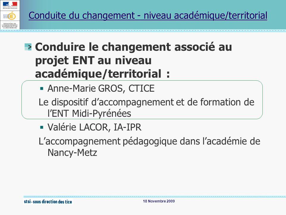 18 Novembre 2009 Conduite du changement - niveau académique/territorial Conduire le changement associé au projet ENT au niveau académique/territorial