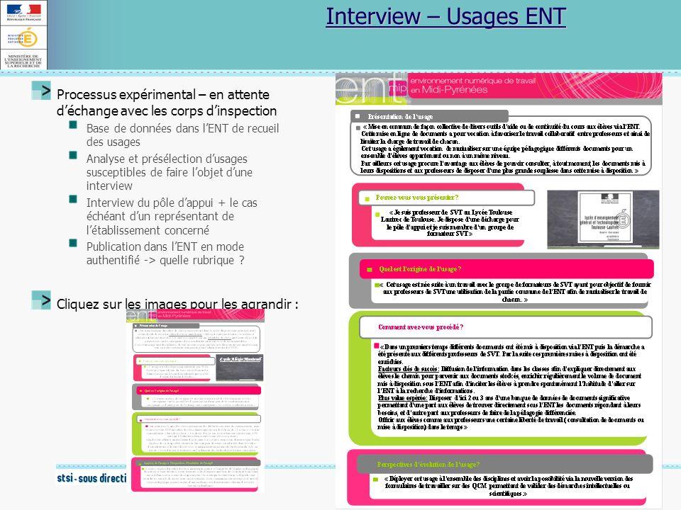 18 Novembre 2009 Interview – Usages ENT Processus expérimental – en attente déchange avec les corps dinspection Base de données dans lENT de recueil d