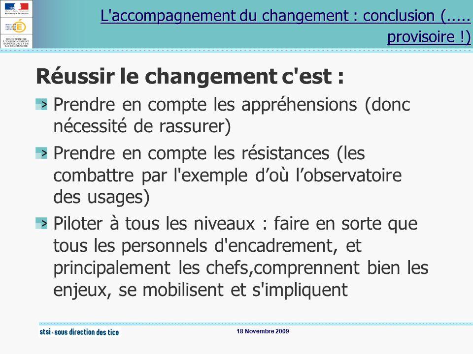 18 Novembre 2009 L'accompagnement du changement : conclusion (..... provisoire !) L'accompagnement du changement : conclusion (..... provisoire !) Réu