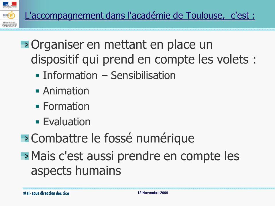 18 Novembre 2009 L accompagnement dans l académie de Toulouse, c est : Organiser en mettant en place un dispositif qui prend en compte les volets : Information – Sensibilisation Animation Formation Evaluation Combattre le fossé numérique Mais c est aussi prendre en compte les aspects humains