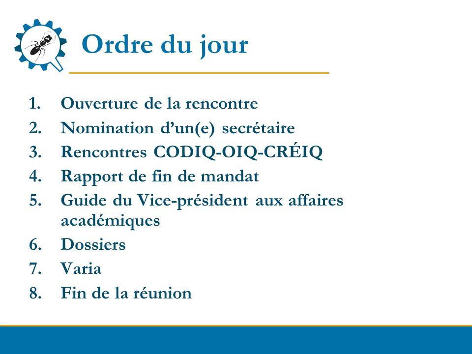 Ordre du jour 1.Ouverture de la rencontre 2.Nomination dun(e) secrétaire 3.Rencontres CODIQ-OIQ-CRÉIQ 4.Rapport de fin de mandat 5.Guide du Vice-prési