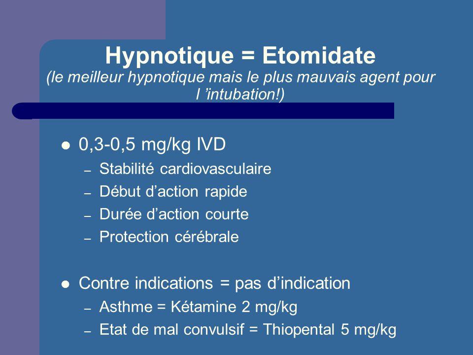 Hypnotique = Etomidate (le meilleur hypnotique mais le plus mauvais agent pour l intubation!) 0,3-0,5 mg/kg IVD – Stabilité cardiovasculaire – Début d