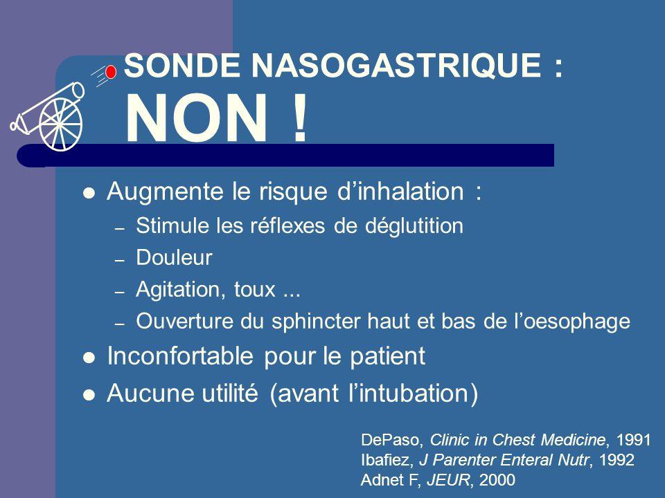 SONDE NASOGASTRIQUE : NON ! Augmente le risque dinhalation : – Stimule les réflexes de déglutition – Douleur – Agitation, toux... – Ouverture du sphin