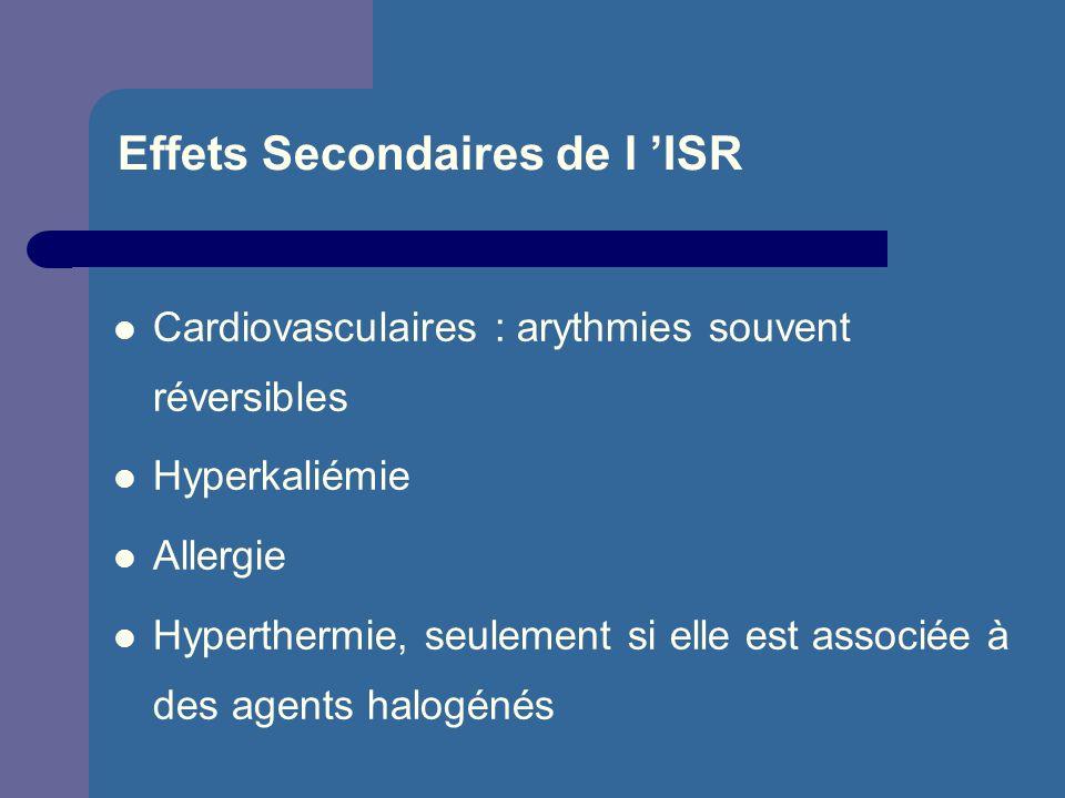 Effets Secondaires de l ISR Cardiovasculaires : arythmies souvent réversibles Hyperkaliémie Allergie Hyperthermie, seulement si elle est associée à de