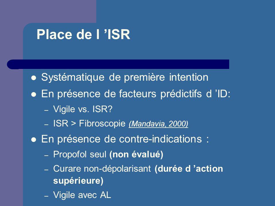 Place de l ISR Systématique de première intention En présence de facteurs prédictifs d ID: – Vigile vs. ISR? – ISR > Fibroscopie (Mandavia, 2000) En p