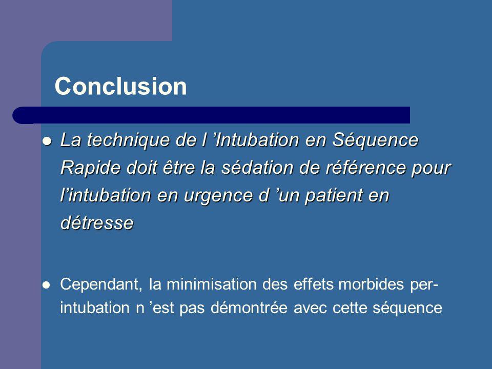 Conclusion La technique de l Intubation en Séquence Rapide doit être la sédation de référence pour lintubation en urgence d un patient en détresse La