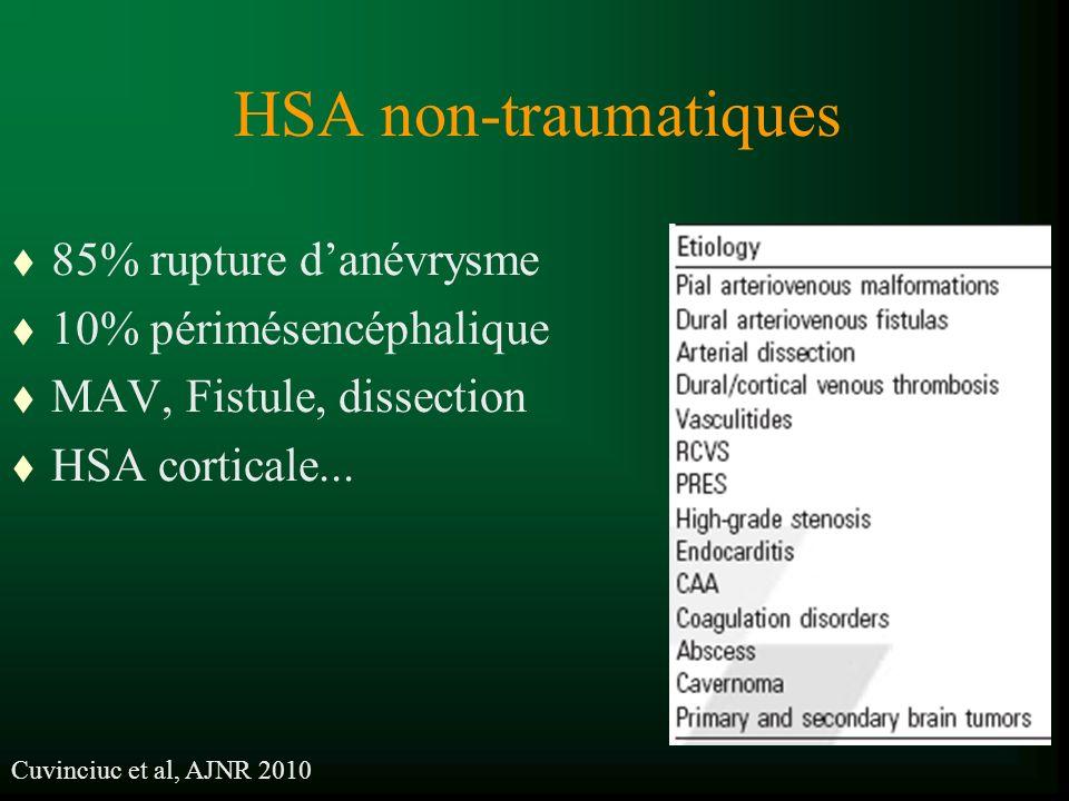 HSA non-traumatiques t 85% rupture danévrysme t 10% périmésencéphalique t MAV, Fistule, dissection t HSA corticale... Cuvinciuc et al, AJNR 2010