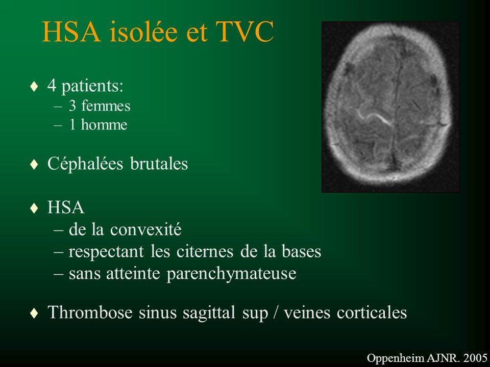 HSA isolée et TVC t 4 patients: –3 femmes –1 homme t Céphalées brutales t HSA –de la convexité –respectant les citernes de la bases –sans atteinte parenchymateuse t Thrombose sinus sagittal sup / veines corticales Oppenheim AJNR.